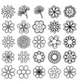 outline flower icon set draw vector image vector image