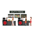 people standing at counter in duty free store vector image vector image