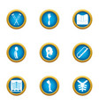 posture icons set flat style vector image vector image