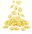 realistic gold coin stack on white background vector image vector image