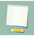 Retro Empty White Paper Sheet with Pencil vector image vector image