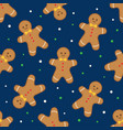 seamless background with gingerbread man vector image vector image