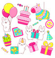 set of cute birthday party icons in kawaii style vector image vector image