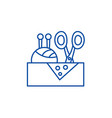 sewing business line icon concept sewing business vector image