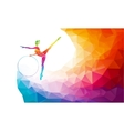 Silhouette of gymnastic girl on rainbow back vector image