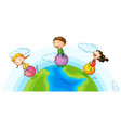 three kids playing ball on earth vector image vector image