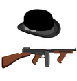 Tommy gun and bowler hat vector image vector image