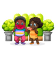 Two black kids eating vector image vector image