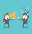 two businessmen with money vector image vector image