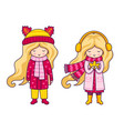 two cute blonde little girls autumn fashion vector image vector image