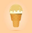 vanilla ice cream in waffle cup dairy product vector image vector image