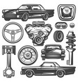 vintage car components collection vector image vector image