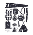 vintage hand drawn camping symbols hiking icons vector image vector image