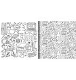 winter doodle set and seamless pattern vector image