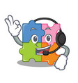 with headphone puzzle mascot cartoon style vector image