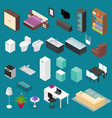furniture element set isometric view vector image