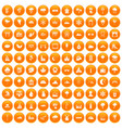 100 scenery icons set orange vector image vector image