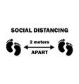 1255 social distancing two footprints 2 meters vector image