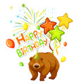 a bear on party template vector image vector image