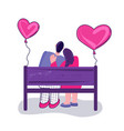 a couple in love on a bench valentines day vector image vector image