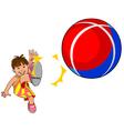 baby kicks the ball vector image vector image