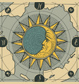 banner with sign moon sun and old map vector image vector image