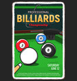billiard table pool or snooker game ball and cue vector image vector image