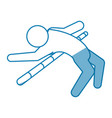 blue line pictogram man practice pole vault sport vector image vector image
