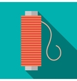 Bobbin of red thread icon flat style vector image