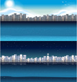 Buildings in city at day and night vector image
