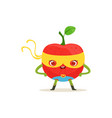 cartoon character of superhero apple with arms vector image vector image