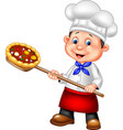 cartoon chef holding pizza vector image vector image