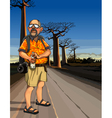cartoon man tourist standing on the road vector image vector image