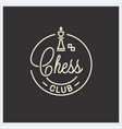 chess club logo round linear logo chess king vector image vector image