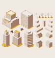 city street isometric constructor in outline mode vector image