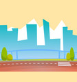 cityscape backdrop skyscrappers and road street vector image vector image