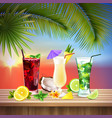 cocktails set realistic composition vector image vector image