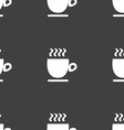 Coffee cup sign Seamless pattern on a gray vector image vector image