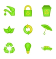 Conservation icons set cartoon style vector image vector image
