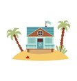 cute pastel blue beach house standing on tropical vector image vector image