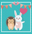 cute rabbit and porcupine animal character vector image