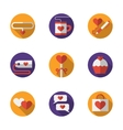 Dating and love round flat color icons vector image