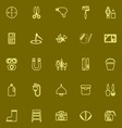 DIY tool yellow line icons vector image vector image
