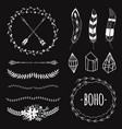 ethnic black and white set with arrows feathers vector image vector image