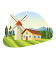 farm with barn scenery vector image