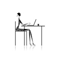 Fashion girl silhouette with laptop in cafe vector image vector image