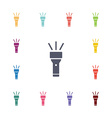 flashlight flat icons set vector image