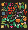 flat vegetables set color carrot onion cucumber vector image