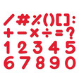 font design for numbers and signs in red color vector image vector image