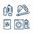 garbage wastes trash line icons set of vector image